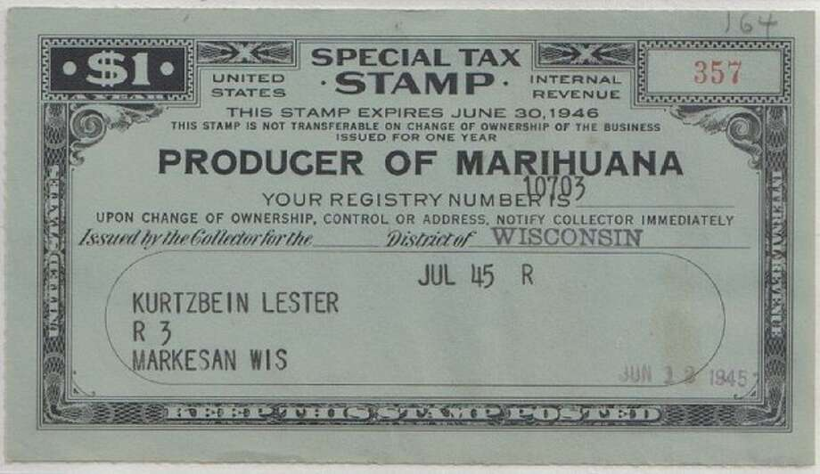 Tax stamp for a producer of hemp, which served mostly to make producers and sellers of hemp and marijuana products register with the government. If you got caught with the drug and no tax stamp … well, they'd bust ya. (Wikimedia Commons)