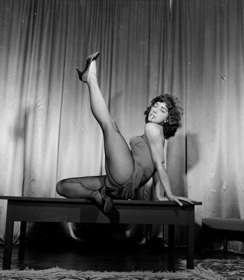Greek dancing sensation Lili Berde performs her erotic number 'The Marijuana,' an act so controversial that it has been banned on British television, in May 1956.Photo By Juliette Lasserre/Getty Images