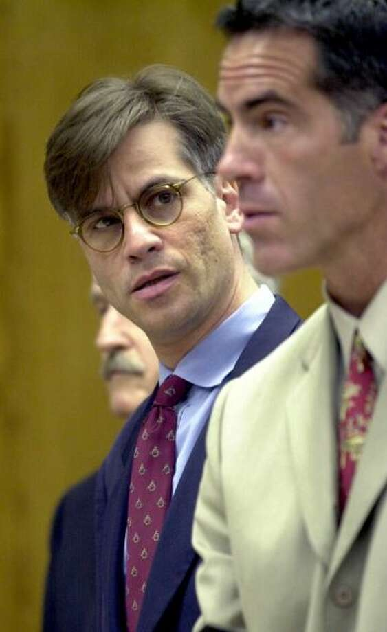 Aaron Sorkin, creator of The West Wing, looks at his attorney, Steve Sitkoff, during his arraignment May 2, 2001 at the Superior Court in Burbank, Calif., on charges of possession of illegal hallucinogenic mushrooms, rock cocaine and marijuana. Sorkin was arrested April 15, 2001 at Burbank Airport after security officers found a small bag in his carry-on luggage containing paper bundles suspected of containing drugs.Photo By Pool/Getty Images