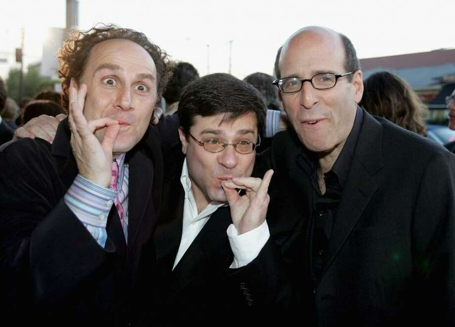 Actor John Kassir , Andy Fickman, director and Matt Blank, CEO and chairman of Showtime pose at the premiere of Showtime's Reefer Madness held at the regent Showcase Cinemas on April 5, 2005 in Hollywood, Calif.Photo By Frazer Harrison/Getty Images