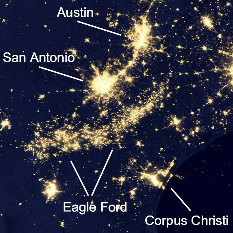 This image of South Texas taken at night from a satellite shows electrical lights and gas flares in the Eagle Ford Shale region south of San Antonio. Photo: Courtesy Photo / NASA's Goddard Space Flight Center