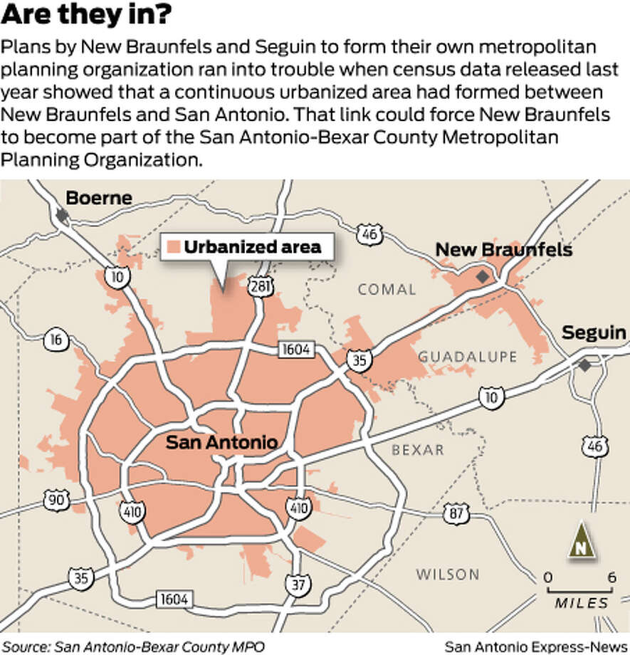 Are they in?Plans by New Braunfels and Seguin to form their own metropolitan planning organization ran into trouble when census data released last year showed that a continuous urbanized area had formed between New Braunfels and San Antonio. That link could force New Braunfels to become part of the San Antonio-Bexar County Metropolitan Planning Organization. Photo: Harry Thomas