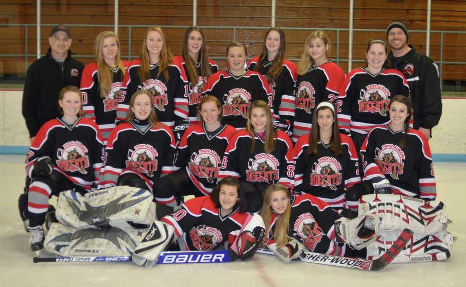 Photo courtesy of Sarah Martino Photography The 14U Troy Albany Ice Cats include, front row: Cameron Boyer, Rachel Peterson. Second Row: Julia Cronin, Sarah Limberger, Carli Pelletier, Paige Pincheon, Marisa DiVietro and Sierra Serino. Third Row: Assistant Coach Dave Serino, Madison Paro, Caitlyn Pulk, Taylor Ham, Allie Clifford, Sarah Kelly, Ali Wagoner, Ava Ferris, and Head Coach Eric Ferris. Absent: Ariella Haas, Assistant Coaches Daryl Clifford, and Gary Pelletier.