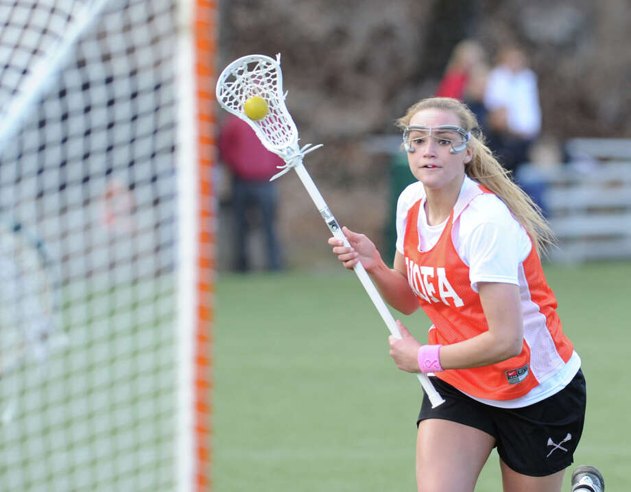 Emily Johnson of Greenwich High School during the girls high school lacrosse scrimmage between Greenwich Academy and Greenwich High School at Greenwich Academy, Thursday, March 28, 2013. Photo: Bob Luckey / Greenwich Time
