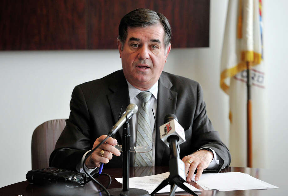 Mayor Michael Pavia speeks during a press conference at the City of Stamford Government Center on Thursday, March 28, 2013. Plans were announced regarding the boatyard at 205 Magee Ave. Photo: Jason Rearick / The (Stamford) Advocate