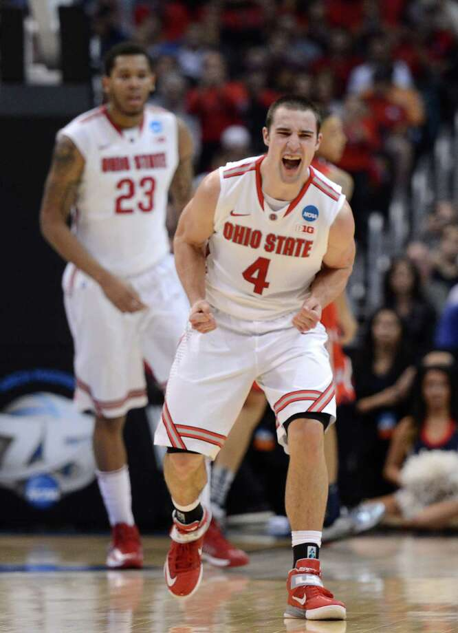 Ohio State 73, Arizona 70LOS ANGELES, CA - MARCH 28:  Aaron Craft #4 of the Ohio State Buckeyes celebrates in the second half while taking on the Arizona Wildcats during the West Regional of the 2013 NCAA Men's Basketball Tournament at Staples Center on March 28, 2013 in Los Angeles, California. Photo: Harry How, Getty Images / 2013 Getty Images