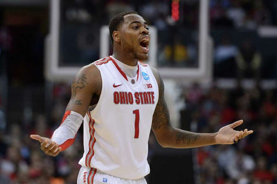LOS ANGELES, CA - MARCH 28:  Deshaun Thomas #1 of the Ohio State Buckeyes reacts in the second half while taking on the Arizona Wildcats during the West Regional of the 2013 NCAA Men's Basketball Tournament at Staples Center on March 28, 2013 in Los Angeles, California. Photo: Harry How, Getty Images / 2013 Getty Images