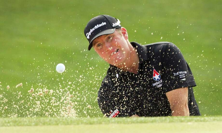D.A. Points encountered little trouble on his way to a first-round 64 and a one-shot lead Thursday. But when he did slip up, Points had an answer, such as two sand saves in two opportunities, including here on No. 18. The other sand save was an 81-footer on No. 7 that he holed for a birdie. Photo: Brett Coomer, Staff / © 2013 Houston Chronicle