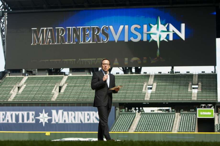 Less than two weeks before the first pitch of the upcoming baseball season, Kevin Martinez, the M's VP of marketing, presents Safeco Field's new ''MarinersVision'' high-definition LED screen Thursday in Seattle.