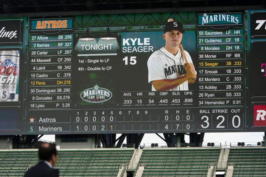 Safeco Field's new ''MarinersVision'' high-definition LED screen shows player stats Thursday in Seattle.