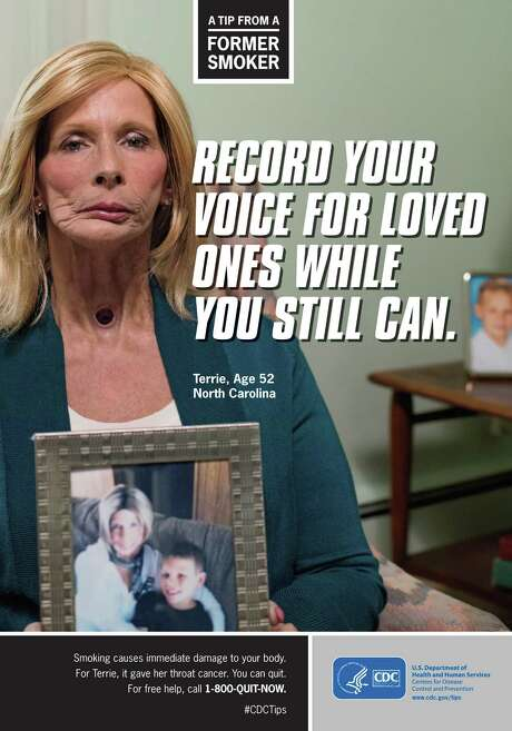 """A poster from the Centers for Disease Control and Prevention shows Terrie Hall, 52, whose voice box was removed years ago. In the new ad, speaking through her electrolarynx, she says, """"The only voice my grandson's ever heard is this one."""" Photo: Associated Press"""