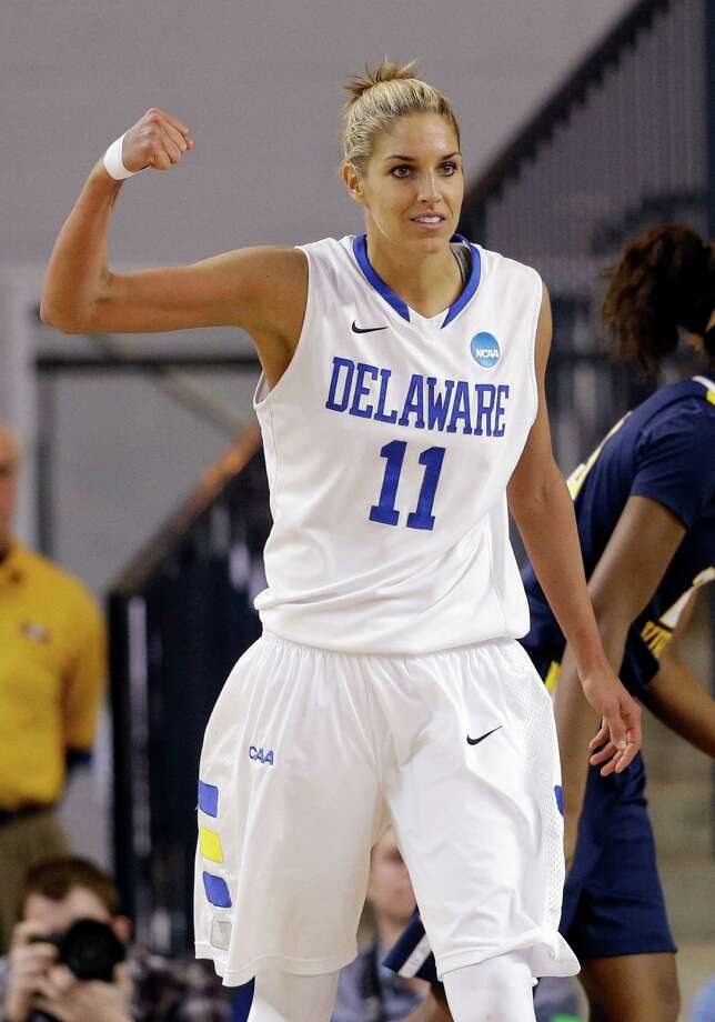 Delaware guard/forward Elena Delle Donne reacts after being fouled as she scored a basket during the second half of a first-round game against West Virginia in the women's NCAA college basketball tournament in Newark, Del., Sunday March 24, 2013. Delle Donne contributed a game-high 33 points to Delaware's 66-53 win. (AP Photo/Patrick Semansky) Photo: Patrick Semansky, STF / AP