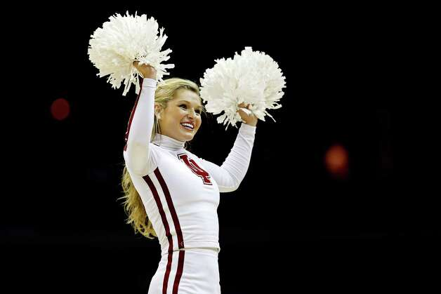 WASHINGTON, DC - MARCH 28:  An Indiana Hoosiers cheerleader performs during the East Regional Round of the 2013 NCAA Men's Basketball Tournament at Verizon Center on March 28, 2013 in Washington, DC. Photo: Rob Carr, Getty Images / 2013 Getty Images
