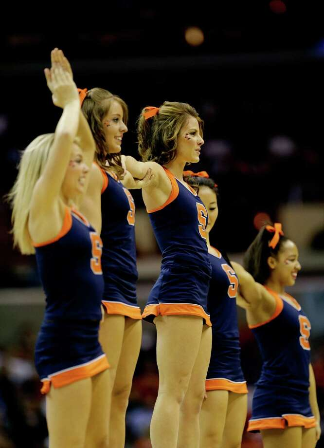 WASHINGTON, DC - MARCH 28:  Syracuse Orange cheerleaders perform during the East Regional Round of the 2013 NCAA Men's Basketball Tournament at Verizon Center on March 28, 2013 in Washington, DC. Photo: Win McNamee, Getty Images / 2013 Getty Images