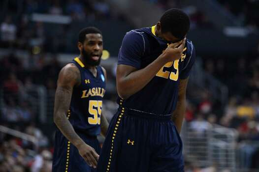 LOS ANGELES, CA - MARCH 28:  Jerrell Wright #25 of the La Salle Explorers reacts int he second half while taking on the Wichita State Shockers during the West Regional of the 2013 NCAA Men's Basketball Tournament at Staples Center on March 28, 2013 in Los Angeles, California. Photo: Harry How, Getty Images / 2013 Getty Images