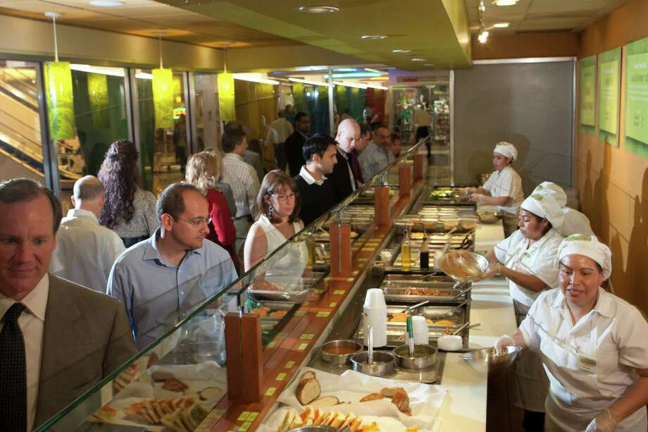 The lunch crowd files in at 919 Milam. Salata is planning new stores in Dallas and California. Photo: Johnny Hanson, Houston Chronicle / © 2013  Houston Chronicle