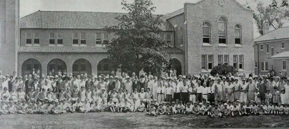 The congregation gathers in 1927. The historic-landmark Midtown church, at 1311 Holman, is First Evangelical's third home in Houston. It was designed by architect Joseph Northrup Jr., who came to Houston to work on the new Rice Institute.  Photo: Provided Photo / handout