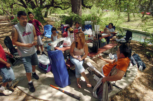 Jessica Guerra, front, and other members of the Quiroz family enjoy at their campground in 2006, which they staked out at Brackenridge Park in preparation for an Easter outing in the park. Photo: BILLY CALZADA, SAN ANTONIO EXPRESS-NEWS / SAN ANTONIO EXPRESS-NEWS