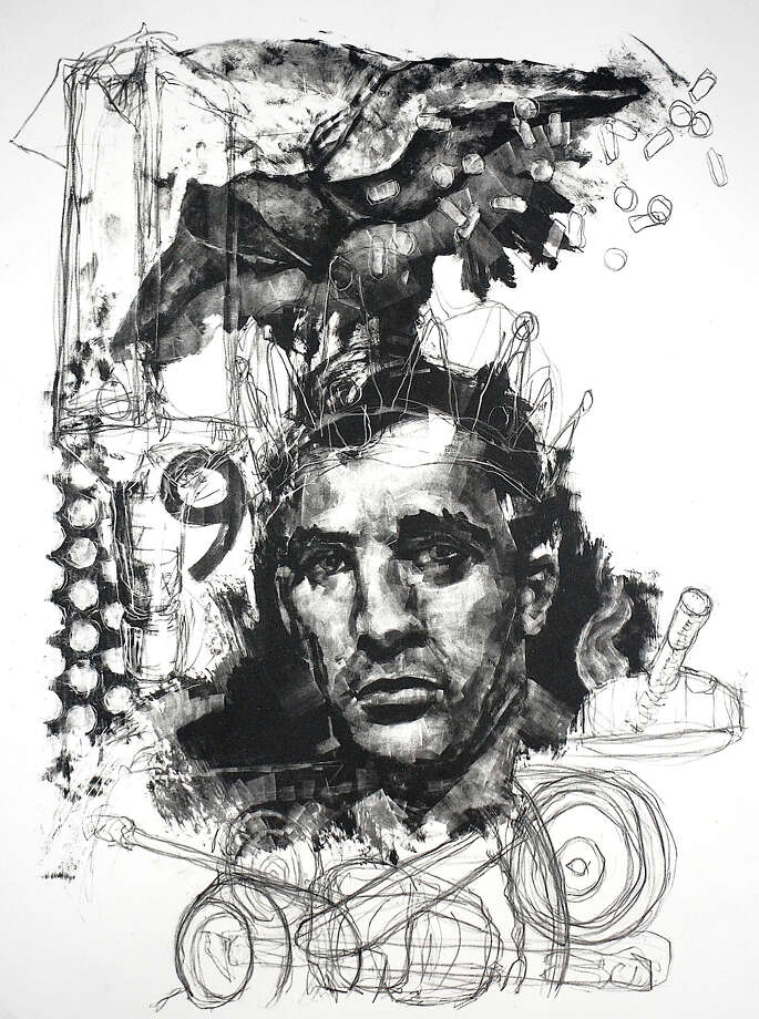 "Mathew Comeau's ""Kerouac,"" stone lithography. Photo: Contributed Photo"