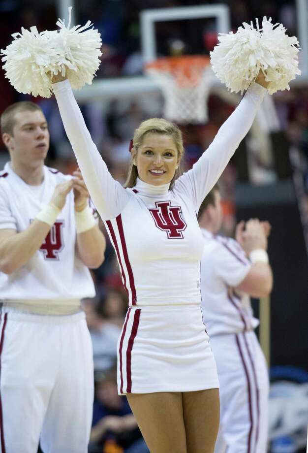 An Indiana cheerleader performs in the second half of an NCAA Tournament East Regional semifinal against Syracuse at the Verizon Center in Washington, D.C., Thursday, March 28, 2013. Syracuse defeated Indiana, 61-50. (Harry E. Walker/MCT) Photo: Harry E. Walker, McClatchy-Tribune News Service / Harry E. Walker, Copyright 2012