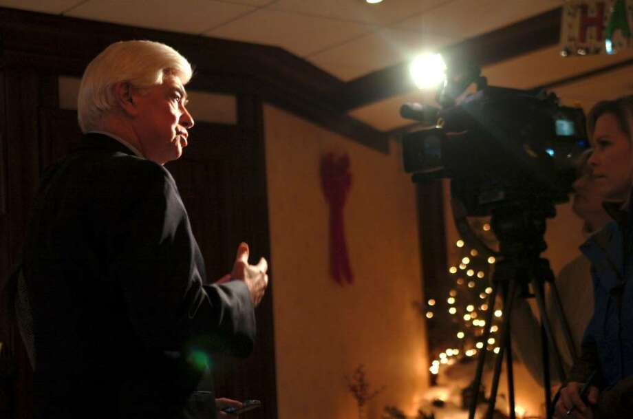 Norwalk, Jan. 5, 2010.  Senator Christopher Dodd speaking for Channel 12 before his talk for the Norwalk Chamber of Commerce  at the Norwalk Inn and Conference Center. Photo: Helen Neafsey / Greenwich Time