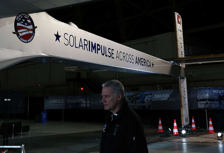 The Solar Impulse is displayed in a hangar at Moffett Field on March 28, 2013 in Mountain View, Calif. Photo: Justin Sullivan, Getty Images / 2013 Getty Images