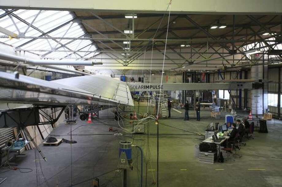 Engineers test the Solar Impulse plane in Switzerland in 2010.