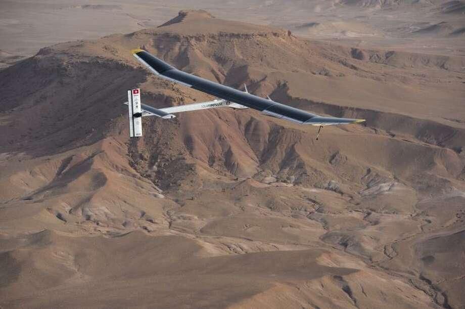The Solar Impulse flies over Ouarzazate, Morocco in 2012.