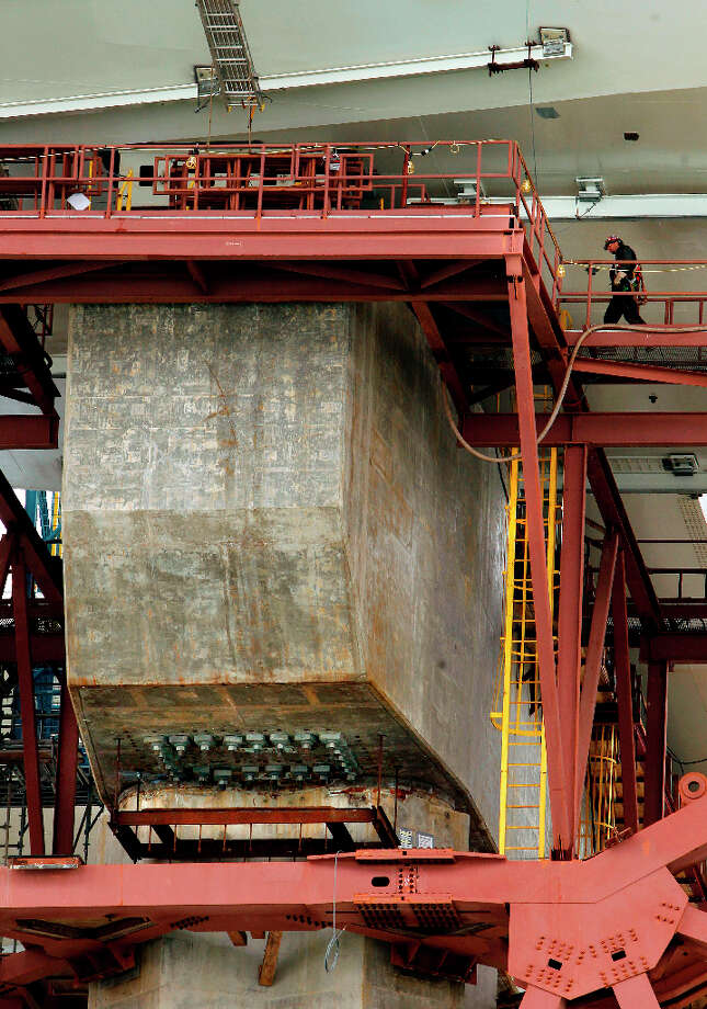 Pier E-2 of the eastern section of the new bay Bridge which contains the fractured anchor rods, (at bottom center ) as CalTrans conducts a boat tour of the impacted areas of the bridge on Wednesday Mar. 27, 2013, in Oakland, Ca. Inspections earlier this month found that 30 large bolts on the new eastern span of the Bay Bridge have fractured. Photo: Michael Macor, The Chronicle / ONLINE_YES
