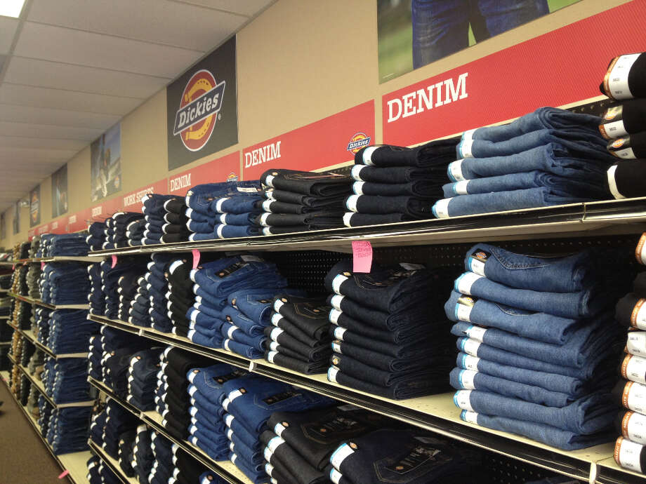 Jeans on display at the new Dickies store at 17426 Northwest Freeway.