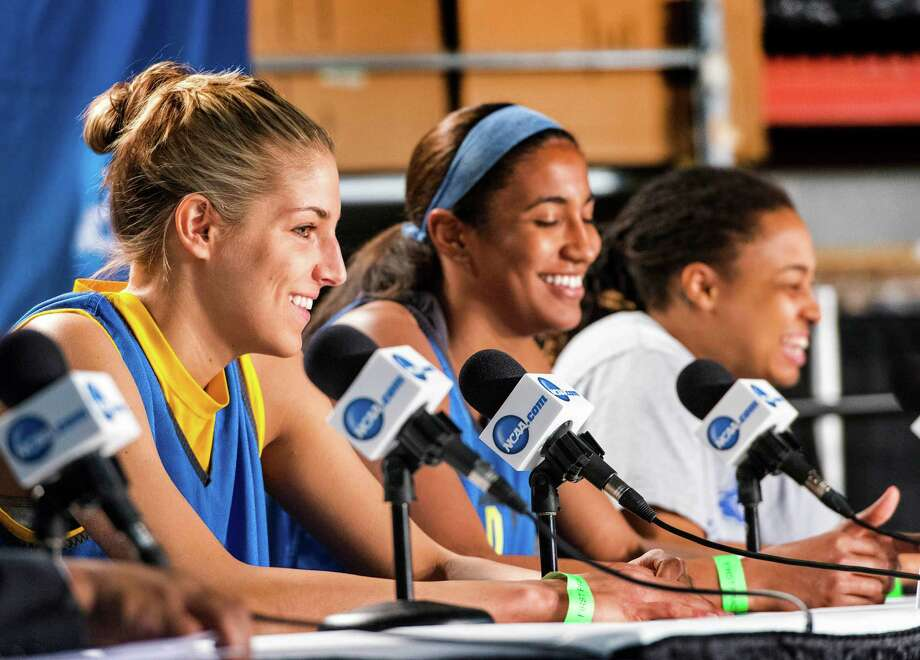 Delaware women's basketball players, Elena Delle Donne, Danielle Parker, and Trumae Lucas speak to the media during a press conference at Webster Bank Arena in Bridgeport, Conn. on Friday, March 29, 2013. The Delaware Blue Hens will play the Kentucky Wildcats in the NCAA Bridgeport regional semifinals Saturday March 30th at noon. Photo: Mark Conrad / Connecticut Post Freelance
