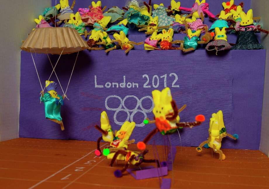 The Peeps diorama depicts a hurdles event at the 2012 summer games in London. (Photo by Ricky Carioti/The Washington Post via Getty Images) Photo: The Washington Post, The Washington Post/Getty Images / 2013 The Washington Post
