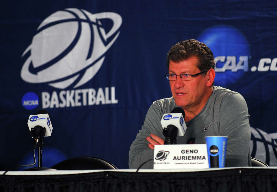 UConn Head Coach Geno Auriemma speaks to the media during a press conference at the Webster Bank Arena in Bridgeport, Conn. on Friday March 29, 2013. The UConn Huskies will play the Maryland Terrapins in the NCAA Bridgeport Regional Semifinals on Saturday March 30th at 2:30. Photo: Christian Abraham / Connecticut Post