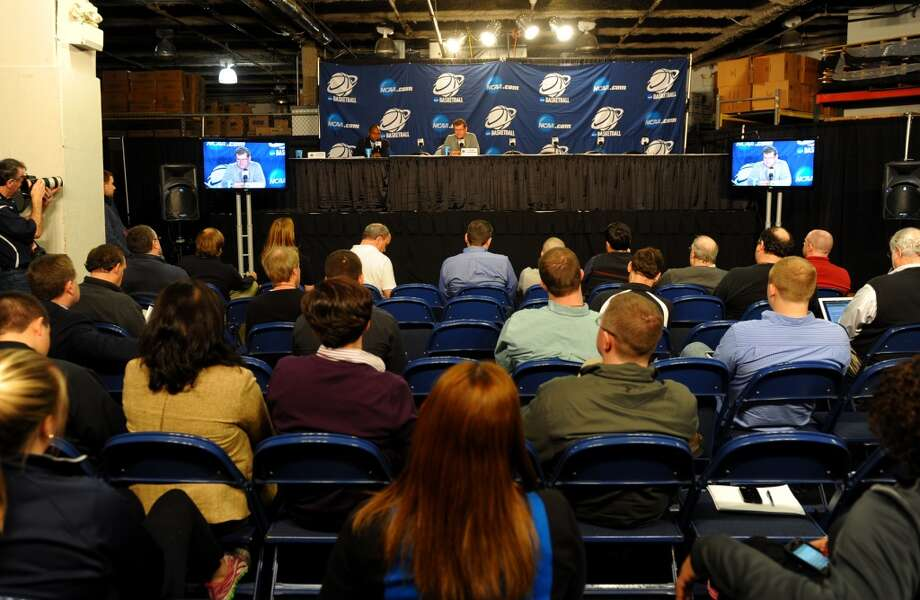 UCONN Head Coach Geno Auriemma speaks to the media during a press conference at the Webster Bank Arena in Bridgeport, Conn. at 2:30 pm on Friday March 29, 2013.