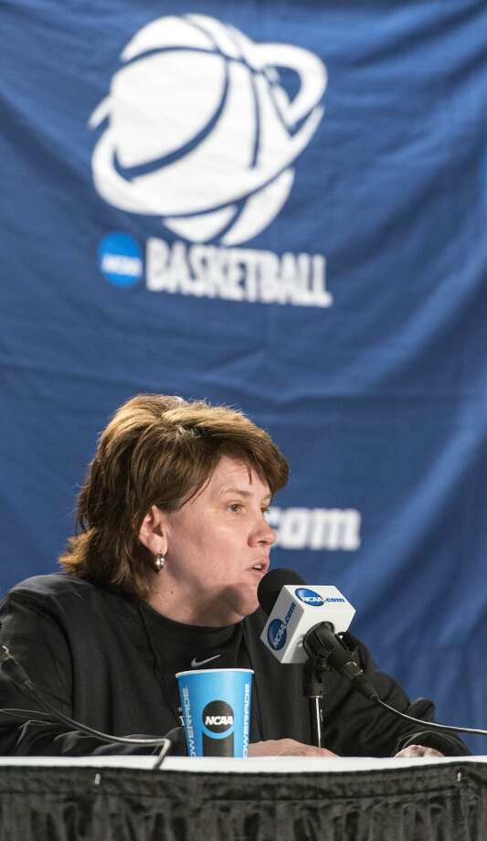 Delaware women's basketball head coach, Tina Martin, speaks to themedia during a press conference at Webster Bank Arena in Bridgeport,Conn. on Friday, March 29, 2013. The Delaware Blue Hens will play the Kentucky Wildcats in the NCAA Bridgeport regional semifinals SaturdayMarch 30th at noon.