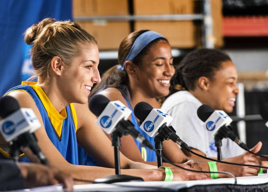 Delaware women's basketball players, Elena Delle Donne, Danielle Parker, and Trumae Lucas speak to the media during a press conference at Webster Bank Arena in Bridgeport,Conn. on Friday, March 29, 2013. The Delaware Blue Hens will play the Kentucky Wildcats in the NCAA Bridgeport regional semifinals SaturdayMarch 30th at noon.