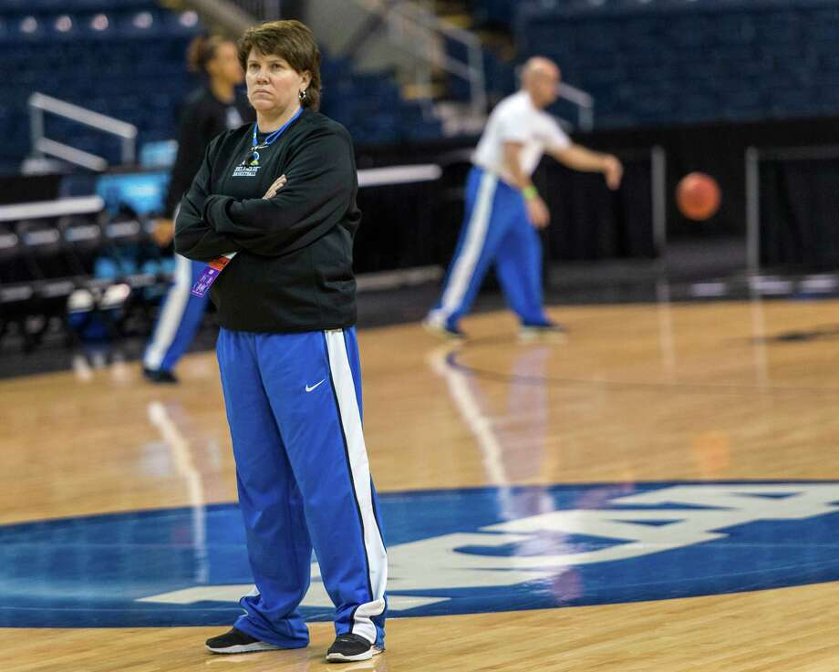 Delaware women's basketball head coach, Tina Martin, watches her team practice at Webster Bank Arena in Bridgeport, Conn. on Friday, March 29, 2013. The Delaware Blue Hens will play the Kentucky Wildcats in the NCAA Bridgeport regional semifinals Saturday March 30th at noon. Photo: Mark Conrad / Connecticut Post Freelance