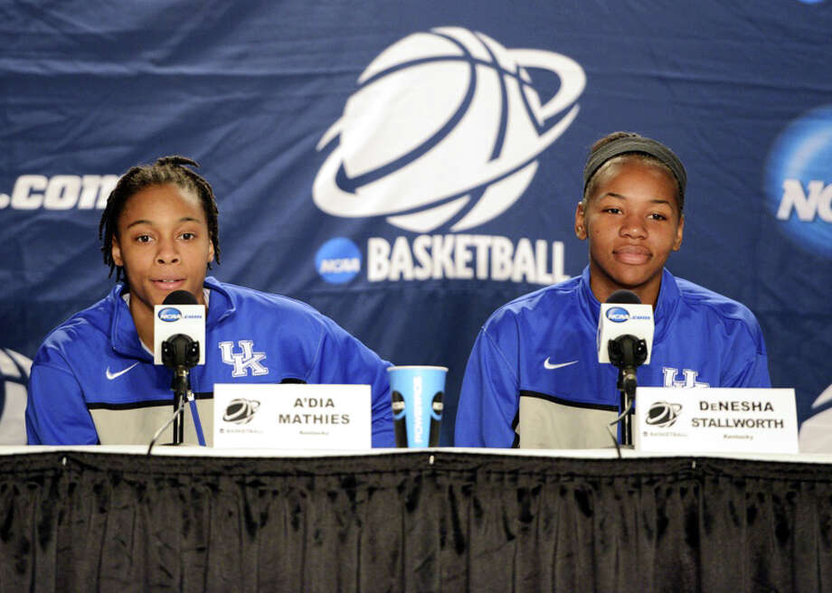 Kentucky women's basketball players, A'Dia Mathies and DeNesha Stallworth speak to the media during a press conference at Webster Bank Arena in Bridgeport, Conn. on Friday, March 29, 2013. The Kentucky Wildcats will play the Delaware Blue Hens in the NCAA Bridgeport regional semifinals Saturday March 30th at noon. Photo: Mark Conrad / Connecticut Post Freelance