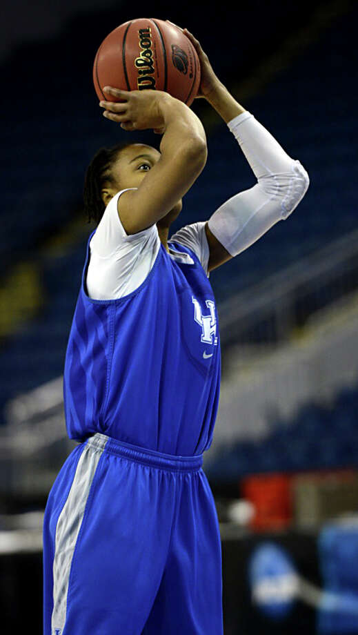 Kentucky women's basketball player A'Dia Mathies takes a shot during a practice session at Webster Bank Arena in Bridgeport, Conn. on Friday, March 29, 2013. The Kentucky Wildcats will play the Delaware Blue Hens in the NCAA Bridgeport regional semifinals Saturday March 30th at noon. Photo: Mark Conrad / Connecticut Post Freelance