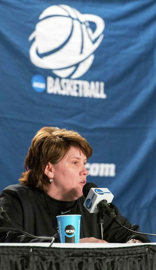Delaware women's basketball head coach, Tina Martin, speaks to the media during a press conference at Webster Bank Arena in Bridgeport, Conn. on Friday, March 29, 2013. The Delaware Blue Hens will play the Kentucky Wildcats in the NCAA Bridgeport regional semifinals Saturday March 30th at noon. Photo: Mark F. Conrad, Mark Conrad / Mark F. Conrad