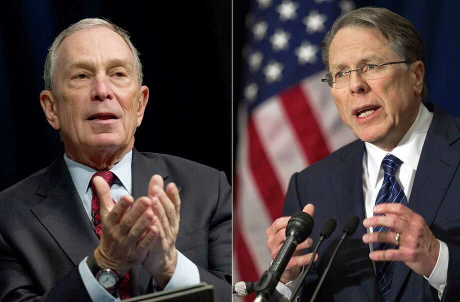 "This combination of file photos shows two individuals at opposite ends of the spectrum in the gun control debate — New York City Mayor Michael Bloomberg (left), who supports gun control, and National Rifle Association head Wayne LaPierre. One of our readers criticizes LaPierre for what he called his recent ""hypocritical attack"" on the mayor. Photo: AFP/Getty Images File Photos"