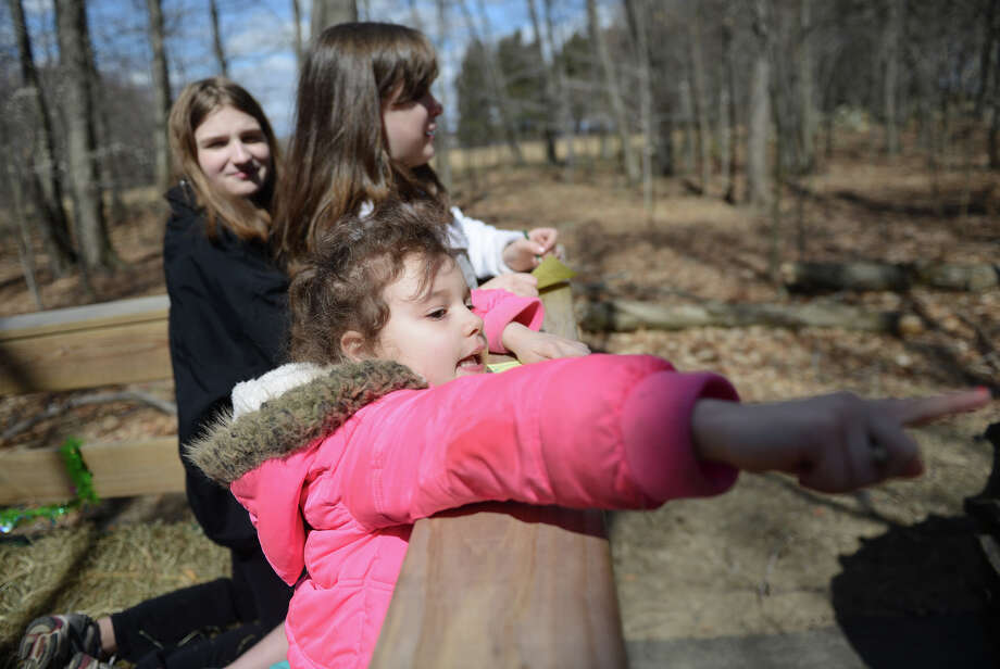 Madelyn Geohegan, right, 5, of Newtown, spots bunnies with Katy Cassetta, left, 12, of Sandy Hook, and Elizabeth Maker, 12, of Newtown, on the Bunny Watch Hayride at Glander Field Pavilion in Newtown, Conn. on Friday, March 29, 2013.  Hundreds of people enjoyed the scenic hayride on antique tractors while counting the stuffed-animal bunnies hiding in the woods along the way. The Easter Bunny greeted the children halfway through the ride, giving hugs and handshakes.  Also available was a bounce house, slide, face painting and many other children's activities. Photo: Tyler Sizemore / The News-Times