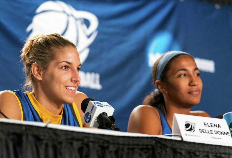 Delaware women's basketball players, Elena Delle Donne, Danielle Parker, speak to the media during a press conference at Webster Bank Arena in Bridgeport, Conn. on Friday, March 29, 2013. The Delaware Blue Hens will play the Kentucky Wildcats in the NCAA Bridgeport regional semifinals Saturday March 30th at noon. Photo: Mark Conrad / Connecticut Post Freelance