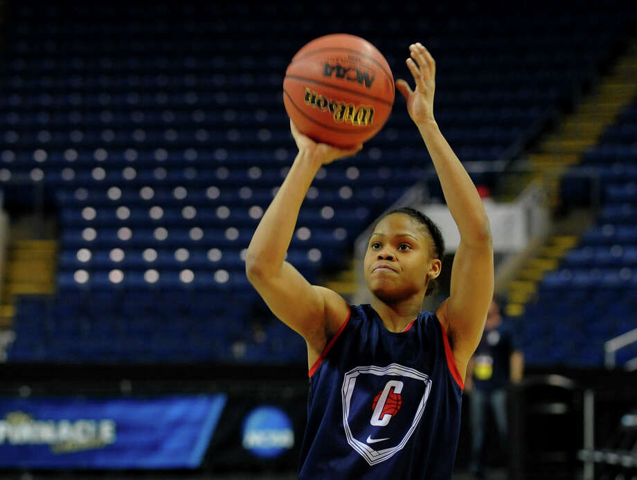 Moriah Jefferson at UConn women's team practice at the Webster Bank Arena in Bridgeport, Conn. on Friday The UConn Huskies will play the Maryland Terrapins in the NCAA Bridgeport Regional Semifinals on Saturday March 30th at 2:30. Photo: Christian Abraham / Connecticut Post