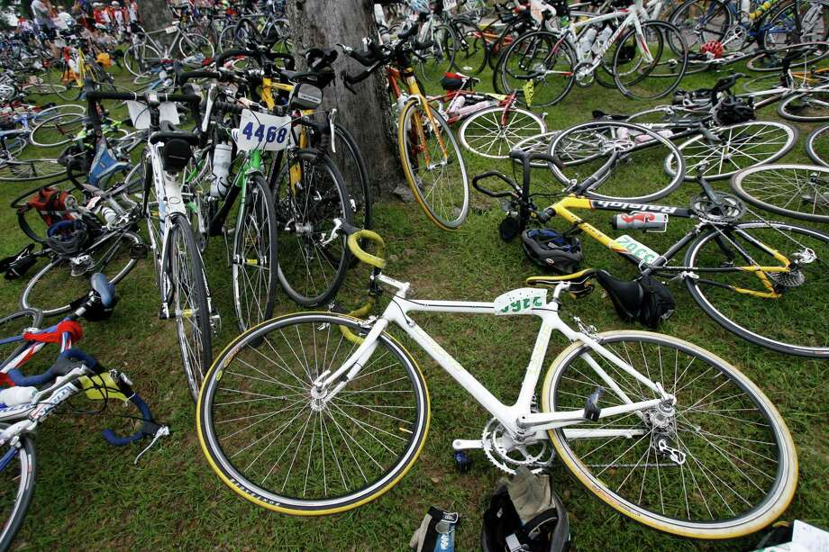 Bikes are scattered everywhere at an MS150 lunch stop in Bellville in 2007.  Fast-food is the fuel that keeps some riders in the annual ride to Austin each year. Photo: Melissa Phillip, Staff / Houston Chronicle