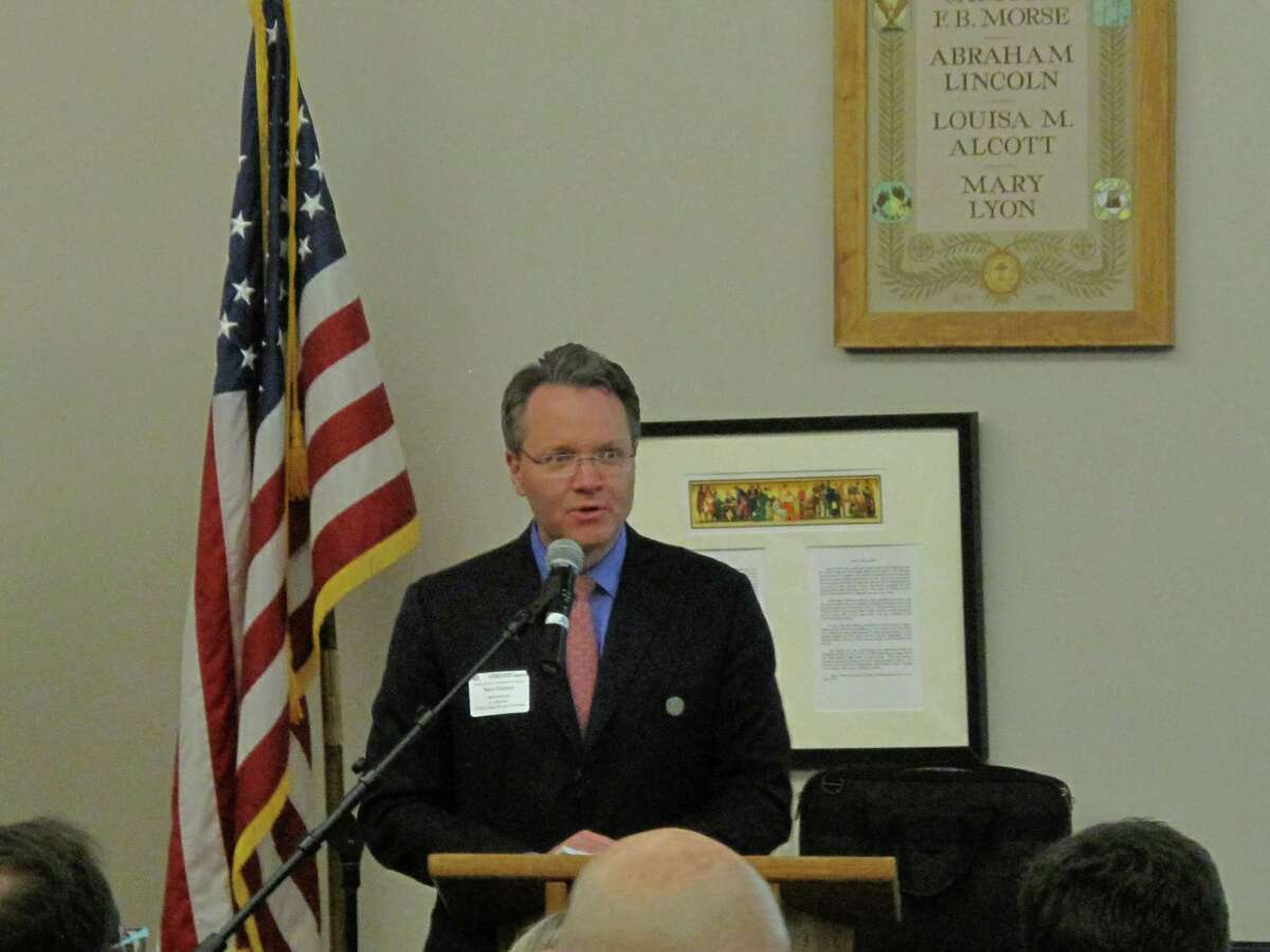 Mark Robbins moderated the Energy and Infrastructure Solutions event at New Canaan High School Thursday night, March 28, 2013. Governor Dannel Malloy gave the keynote speech.