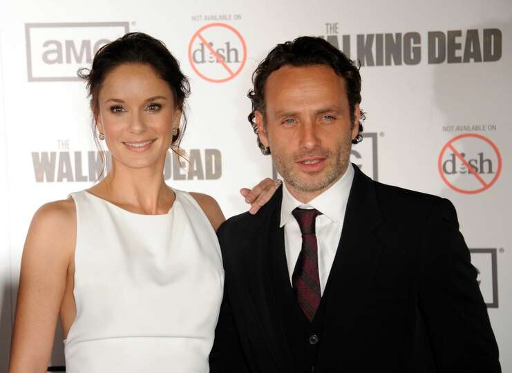 andrew lincoln with costar sarah wayne callies in 2012