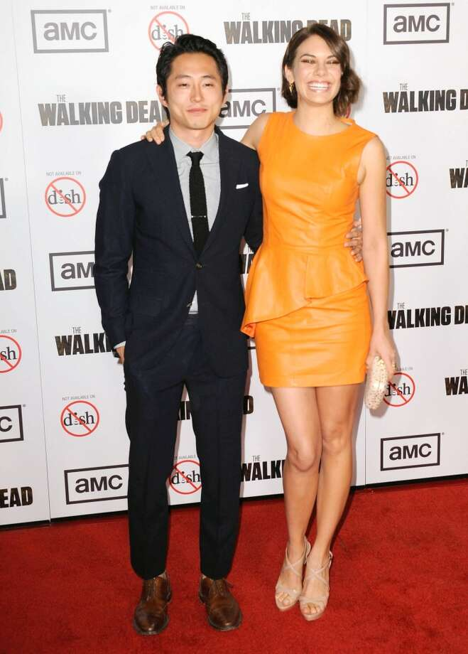 A cleaned-up Glenn and Maggie. (Actors Steven Yeun and Lauren Cohan at the ''The Walking Dead'' Season 3 premiere on Oct. 4, 2012).
