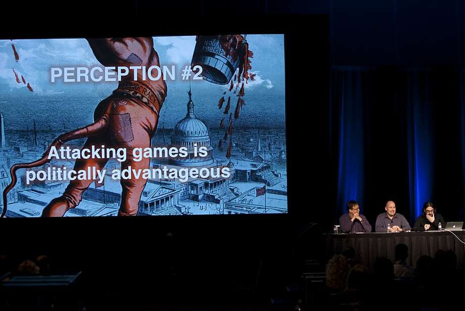 Game developers Daniel Greenberg, Mike Capps and Ian Bogost discuss how the video game industry and violence are perceived at the 27th annual Game Developers Conference at the Moscone Center in S.F. Photo: Sam Wolson, Special To The Chronicle