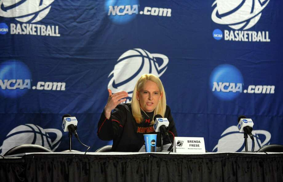 Maryland Head Coach Brenda Frese speaks to the media during a press conference at the Webster Bank Arena in Bridgeport, Conn. on Friday March 29, 2013. The UConn Huskies will play the Maryland Terrapins in the NCAA Bridgeport Regional Semifinals on Saturday March 30th at 2:30. Photo: Christian Abraham / Connecticut Post